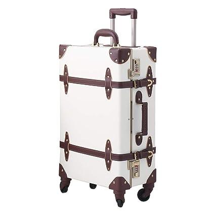 Uretravel Vintage Luggage Aluminum Frame Hardside Women Leather Suitcase with Spinner Wheels