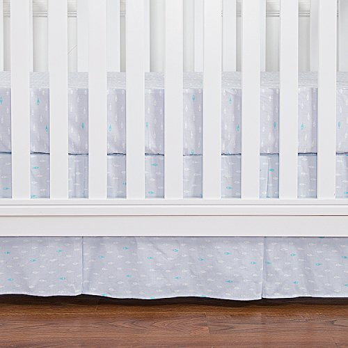 TILLYOU Pleated Crib Skirt Dust Ruffle, Light Blue Fish Pattern, 100% Natural Cotton, Nursery Crib Bedding Skirt for Baby Boys and Girls 14