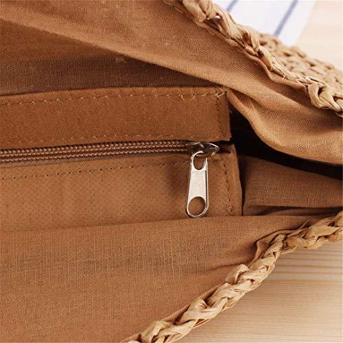 Da colore Dimensione Isogea Sacca Cerniera 43x34cm Di Viaggio Borsa Rattan Beige Rafia Tracolla Intrecciata Fatta Cammello In Con Mano A xvTqZ