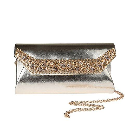 Aronvivi - Cartera de mano para mujer silvery2 talla única golden3
