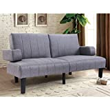 Giantex Futon Sofa Bed Convertible Lounge Couch Linen Upholstered SplitBack Recliner Sleeper Sofa Bed w/Armrest Cup Holder (Gray)