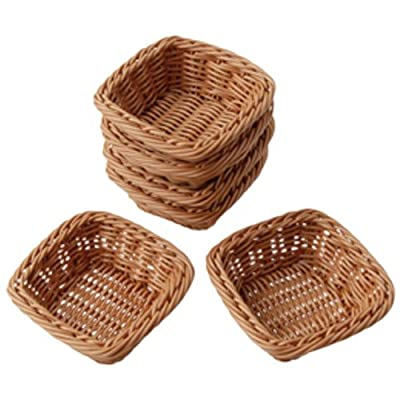 Set of 6 Square Plastic Woven Baskets for Storage Or Sorting by ConstructivePlaythings