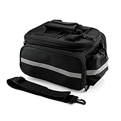 Wisdoman Bike Rear Seat Trunk Bag Handbag Pannier, Waterproof Rear Bag Multi Function Bicycle Cycling Bike Rear Seat Rack Luggage Pack Panniers Black cycling Bike Rear Seat Rack Luggage Pack Black