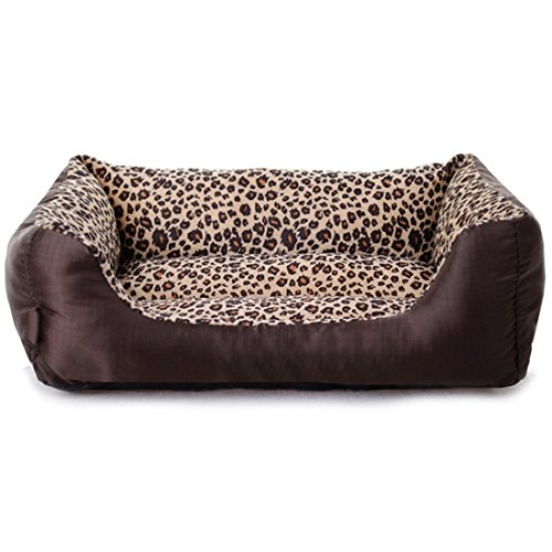 Echo Paths Comfortable Pet Bed Sleep Cozy Dog Cat Caves Beds for Pets Paw Printed Leopard M (22.817.75.5 ()