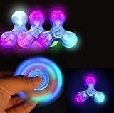 Auwer Luxury LED Glowing 7-Clors Light Tri Hand Spinner Finger Spin Toy ...