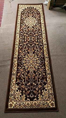Traditional Persian Runner Area Rug 330,000 Point Brown Deir Debwan Design 603 (2 Feet X 7 Feet 2 Inch)