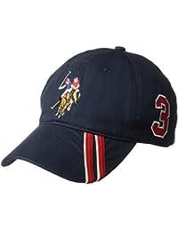 Men's Polo Horse Baseball Cap, Diagonal Stripe Applique...