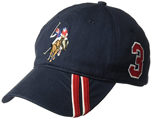 U.S. Polo Assn. Men's Polo Horse Baseball Cap, Diagonal Stripe Applique Visor, Navy, One (Applique Hat)