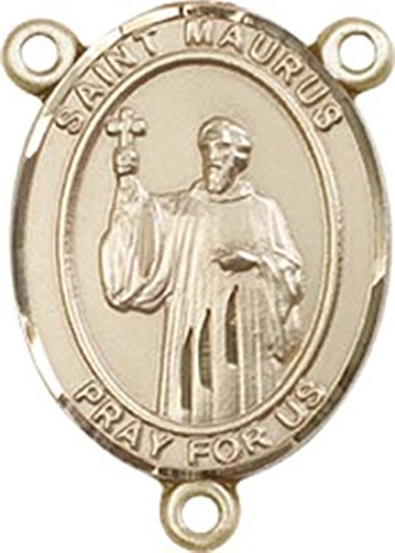 14K Gold Filled Saint Maurus Rosary Centerpiece Medal, 3/4 Inch
