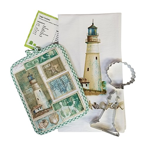 Lighthouse 5 piece Kitchen Towel Hot Pad Cookie Cutters Recipe Card Bundle