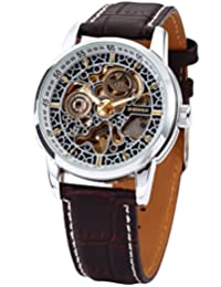 AMPM24 Classic Mens Automatic Mechanical Watch Black Leather Strap Skeleton Wrist Watch PMW074