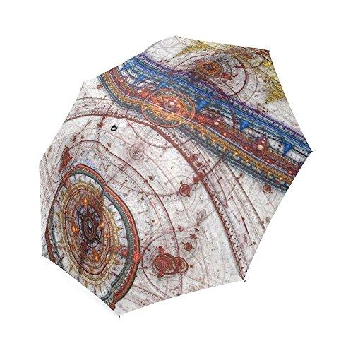 Fractal Design Classic Umbrella Windproof foldable Compact Rain Travel Umbrella (Rib Fractal)