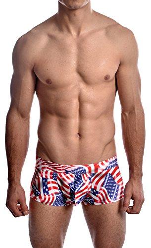 Men's USA American Flag Stars Hot Body Boxer Swimsuit By Gary Majdell Sport USA Flag Small