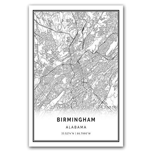 (Squareious Birmingham map poster print   Modern black and white wall art   Scandinavian home decor   Alabama City prints artwork   Fine art posters 20x30)
