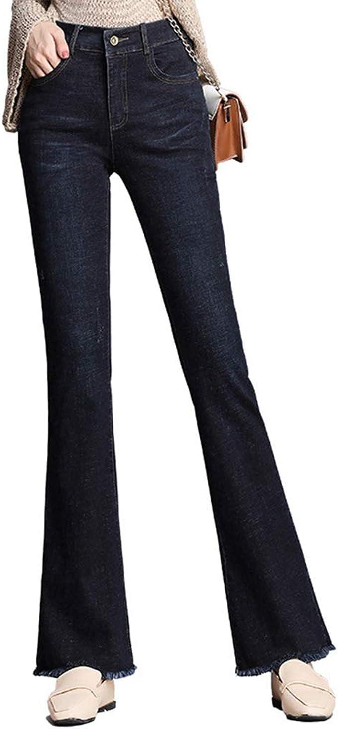 レディース ファッション パンタロン ハイウエスト デニム パンツストレッチ 着痩せ 美脚 通学 カジュアル 大きいサイズ ロング デニム パンツ ワイドパンツ ズボン ベルボトム 不規則 ブラック