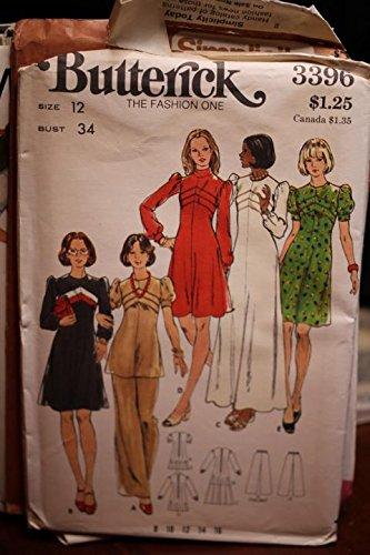 (Vintage Butterick Pattern B3396 Sz 12 Bust 34 Misses' Dress, Top & Pants UNCUT)