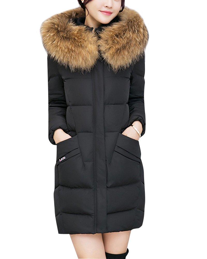 Mujer de espesan abajo chaqueta capucha abrigo de invierno Manga larga Abrigo acolchado