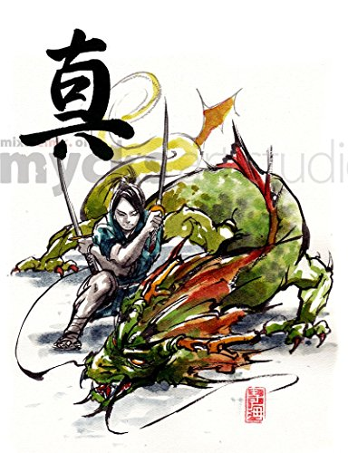 8x10-print-of-samurai-and-dragon-duo-japanese-calligraphy-truth