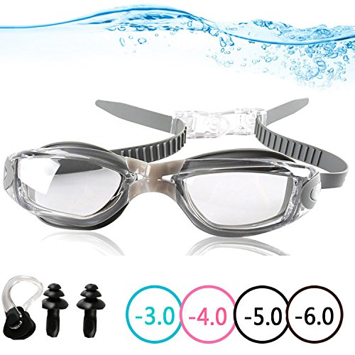 YINGNEW No Leaking Prescription Swimming Goggles - Unisex Triathlon Swim Glasses with Free Nose Clip & Earplugs,Swim Goggles with UV Protection,Anti Fog Technology Ultra - Glasses Free Prescription