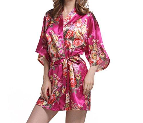 Elegante rosa Stampati Fiori per Camicia Notte Vestaglia YueLian Donna Liscio da Mini 76qF1