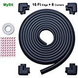 MySit Edge Guards and Cushion 17.4 ft [ 15Ft Edge + 8 Corners] Thick Anti-Collision Soft Bumper Protector (Edge_Corner_Black)