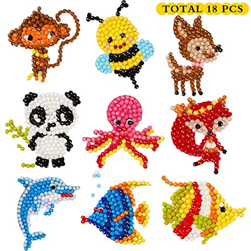 5D DIY 18 PCS Diamond Painting Stickers Kits for Kids and Adult Beginners, Stick Paint with Diamonds