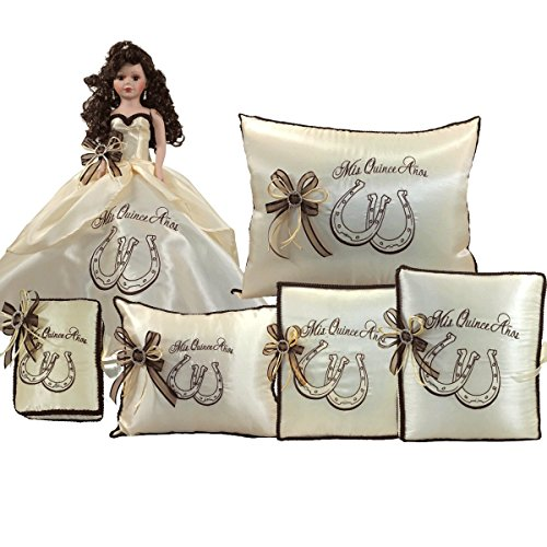Quinceanera Complete Set Doll Guest Book Kneeling Tiara Pillow Photo Album Bible Q1057 (Basic set + Spanish bible) by Quinceanera