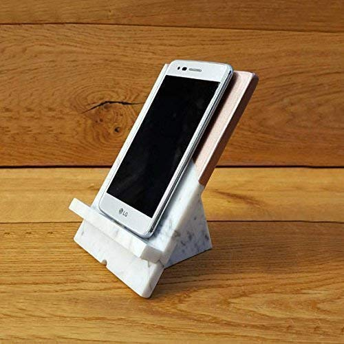 Marble iPhone Holder Stand Office Desk Decor in Rose Gold Smartphone Tech Gift