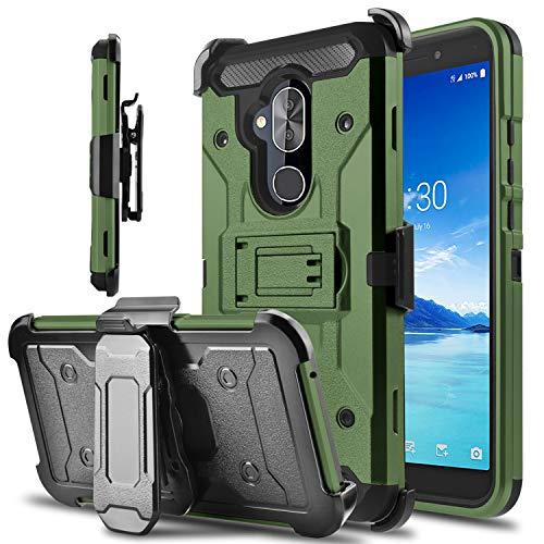 Alcatel 7 Case, Alcatel Revvl 2 Plus (2018) Case, lovpec Kickstand [Heavy Duty Protection] Swivel Belt Clip Holster Full Body Armor Protective Shockproof Phone Case Cover for Alcatel 7 Folio (Natural)
