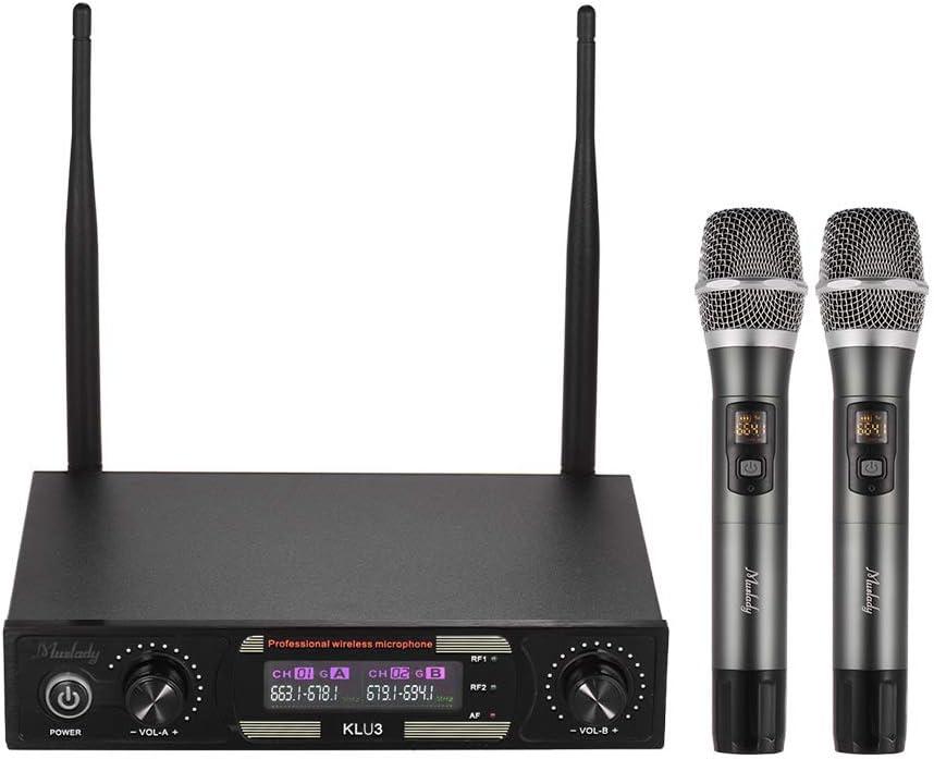 Muslady Set de Micrófonos Inalámbricos UHF con 1 Receptor 2 Pantalla a Color de Micrófono de Mano para DJ Party Karaoke Business Meeting