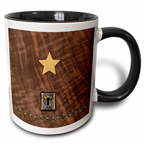 (3dRose Russ Billington Designs - Photo of Wood Veneer Marquetry Heart and Lock - 15oz Two-Tone Black Mug (mug_219401_9))