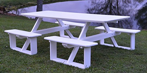 A&L Furniture 8' Amish-Made Rectangular Poly Walk-In Picnic Table with Umbrella Hole, Weathered Wood