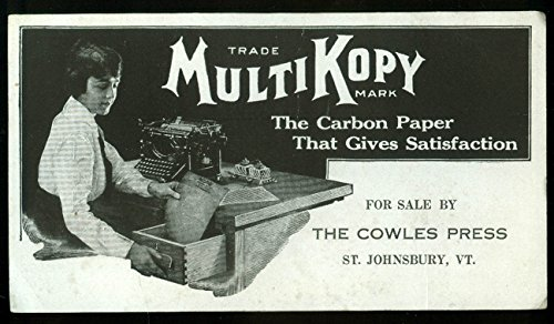 MultiKopy Carbon Paper advertising blotter Cowles Press St Johnsbury VT 1930s from The Jumping Frog