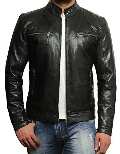 Brandslock Men's Lambskin Genuine Leather Biker Jacket (XL, Black)