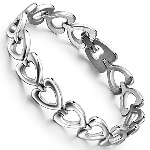 Flongo Stainless Steel Hollowed Heart Shape Link Charm Bracelet, Best Gift for Valentine,8 inch Chain for Christmas New Year (Type 1)