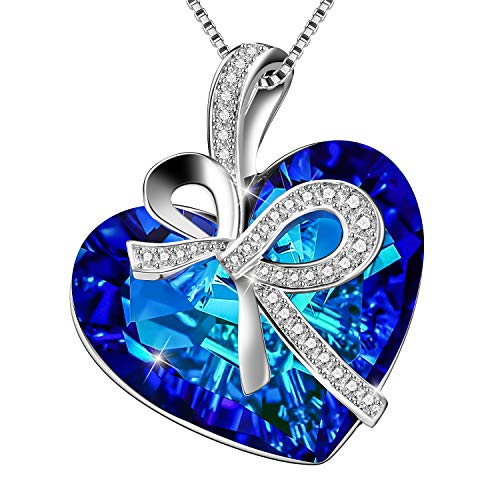Menton Ezil Heart Necklaces White Gold Plated Blue Crystal from Swarovski Pendant Necklace Heart of Ocean Jewelry Gift for Women (Blue)