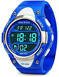 Boys Sport Digital Watch, Kids Outdoor Waterproof Electronic Watches with LED Alarm Stopwatch - Blue