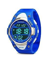 Kids Outdoor Sports Children's Waterproof Wrist Dress Watch With LED Digital Alarm Stopwatch Lightweight Silicone for Boy Girl - Blue