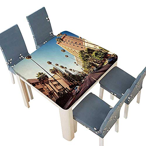 (PINAFORE Tablecloth Waterproof Polyester Table Street in Beverly Hills California Palm Trees Houses Famous City Photo Light Blue Tablecloth Wedding/Party 69 x 69 INCH (Elastic Edge))
