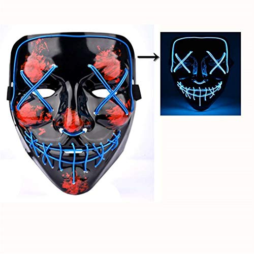 Halloween LED Mask The Purge Mascara Led Mask Light Up Neon Skull Mask Party Glow in Dark Festival Cosplay Costume Supplies Blue
