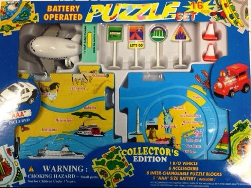 - Puzzle Car Set -- Battery Operated Plane with Map
