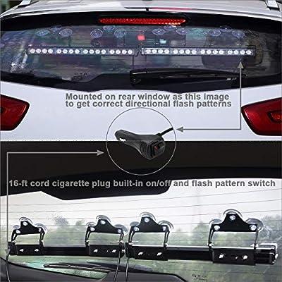 2 in 1 Red White Emergency Flashing LED Traffic Advisor Strobe Light Bar for Volunteer Firefighter First Responder Vehicles Trucks POV Interior Safety Warning: Automotive