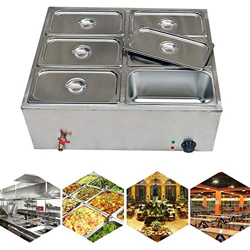 Commercial 6-Pan Stainless Steel Electric Steamer Steam Table Bain Marie Food Warmer+6 lids Bain Marie Buffet Food Warmer Steam Table for Catering and Restaurants