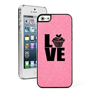 Apple iPhone 5 5s Glitter Bling Hard Case Cover Love Cupcake (Pink)