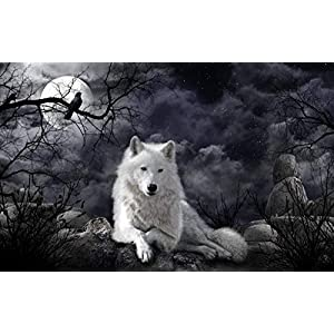 Wozuiban Puzzle 1000 Pezzi Puzzle In Legno Diy Black Clo Ud Moon White Wolf Modern Home Decor Wall Art Intelligence Gioco