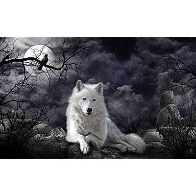 Wozuiban Puzzle 1000 Pezzi Puzzle In Legno Diy Black Clo Ud Moon White Wolf Modern Home Decor Wall Art Intelligence Gioco