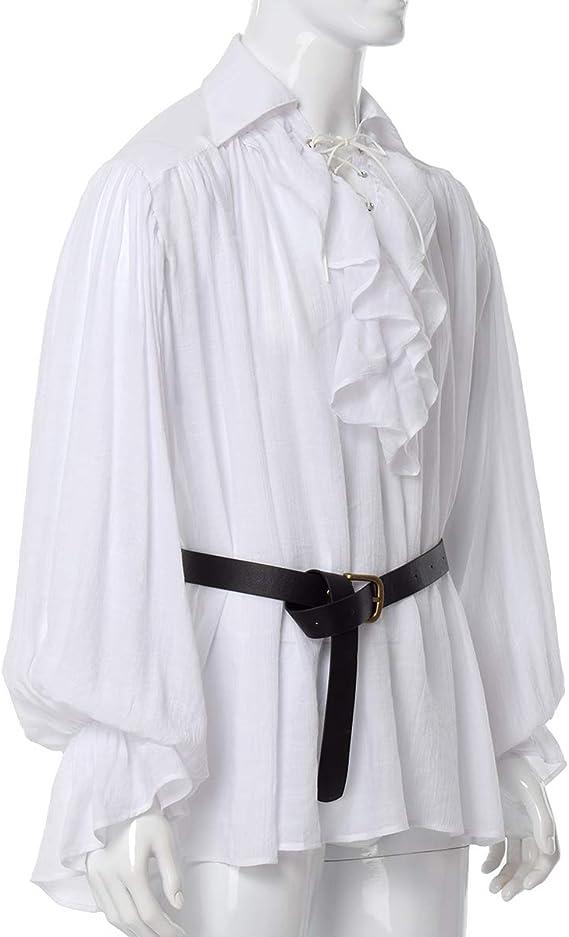 GRACEART Hombres Medieval Nórdico Camisas con Cinturón: Amazon.es: Ropa y accesorios