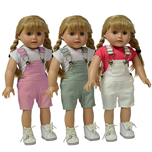 - The New York Doll Collection Set of 3 Twill Overalls: Pink, Grey and White
