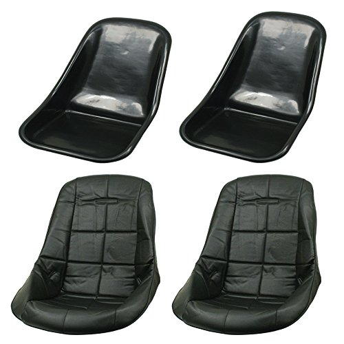 LOW BACK SEAT SHELLS, Impact Plastic, With Black Covers Pair, Dunebuggy & VW by Appletree Automotive