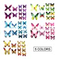 48 PCS Removable 3D Butterfly Wall Stickers Decals DIY Wall Art Decor Home Wall Decoration Sticker Mural for Kids Girls Children Bedroom Living Room Background Nursery